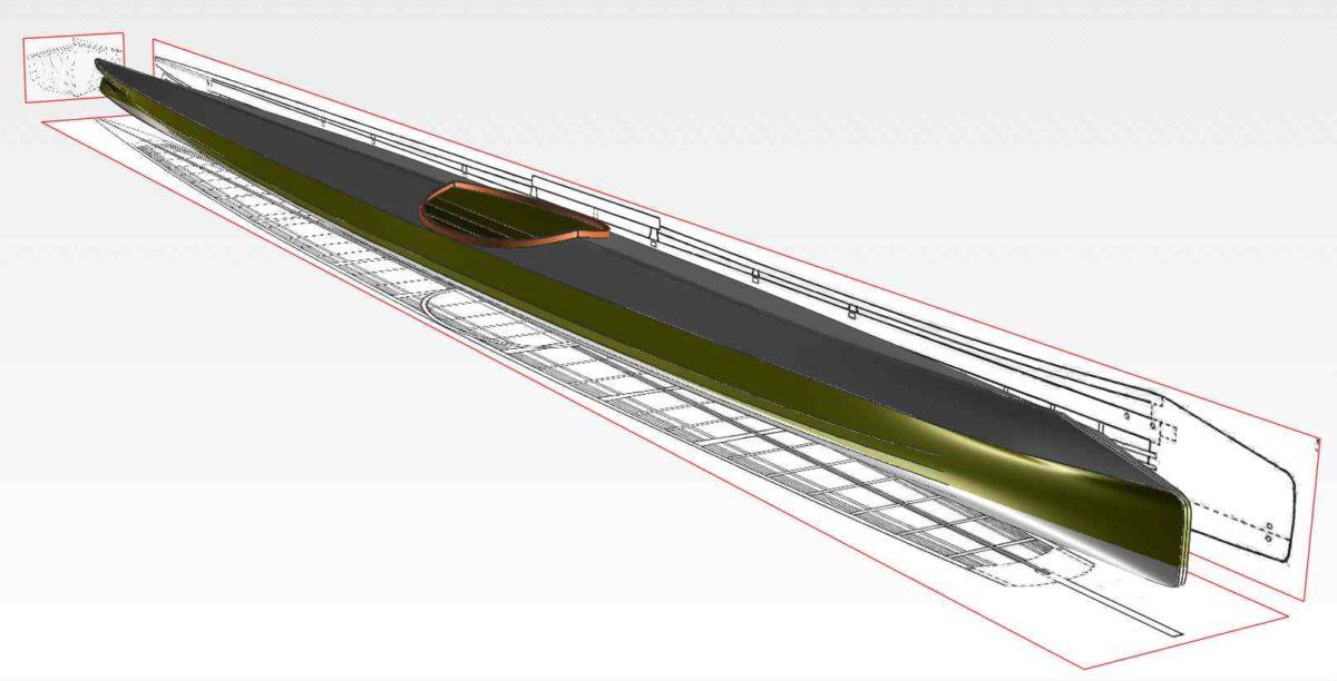 Baidarka - Aleut Kayak - Mit Linienplan aus dem Museum als Basis für die Erstellung der Zeichnung